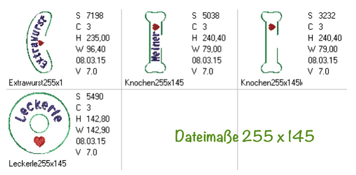 Dateimaße Hundespielzeug ITH 255 x 145