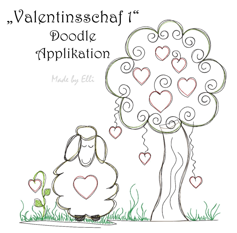 Valentinsschaf 1 - Doodle Applikation