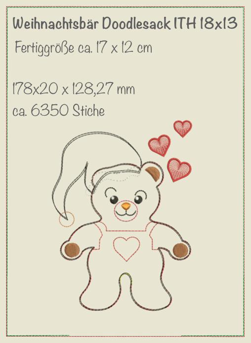 Weihnachtsbär Doodlesack 18x13