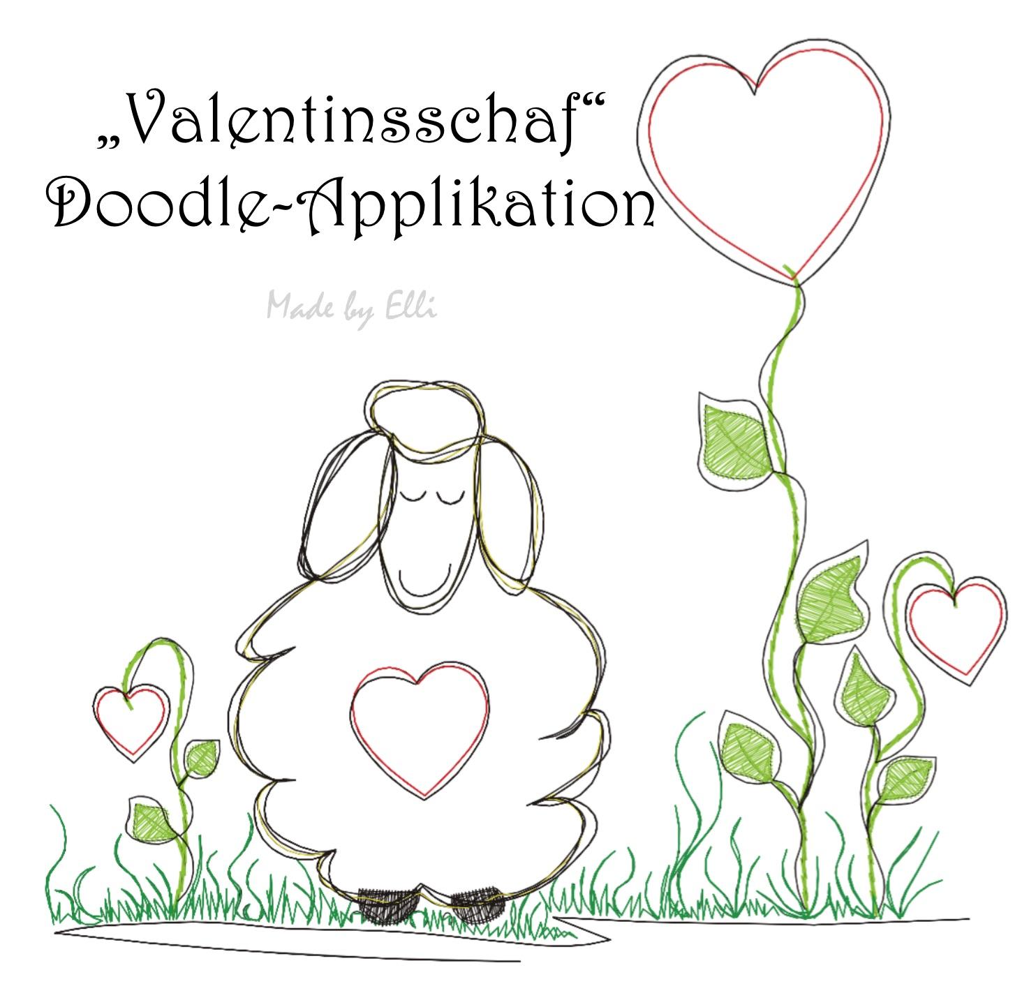Valentinsschaf - Doodle Applikation