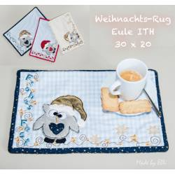 Weihnachts-Rug-Eule ITH 30x20