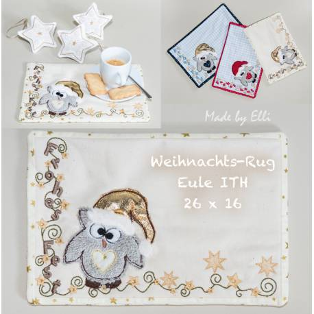 Weihnachts-Rug-Eule ITH 26x16