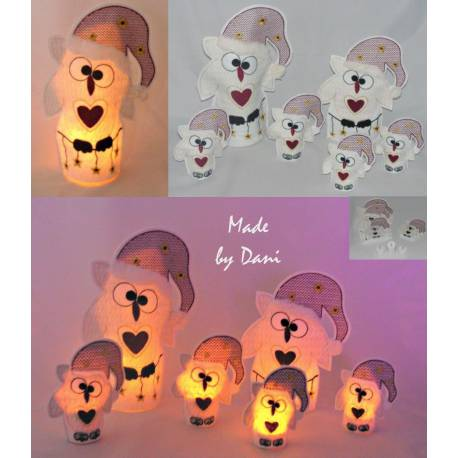 LED-Eule Santa Kate SET36x20
